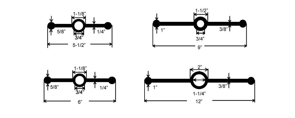 Plan drawing of four center bulb types of rubber waterstops in different length
