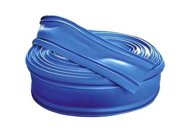 A roll of blue PVC waterstop without center bulb in sea blue color