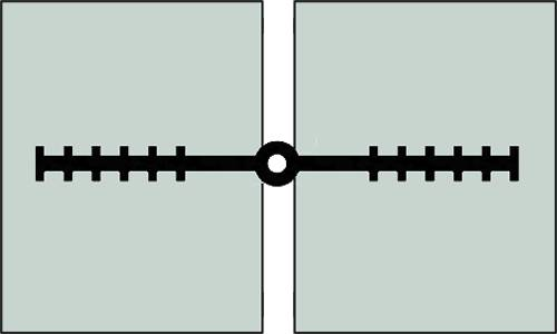 A plan drawing of ribbed with center bulb type waterstop
